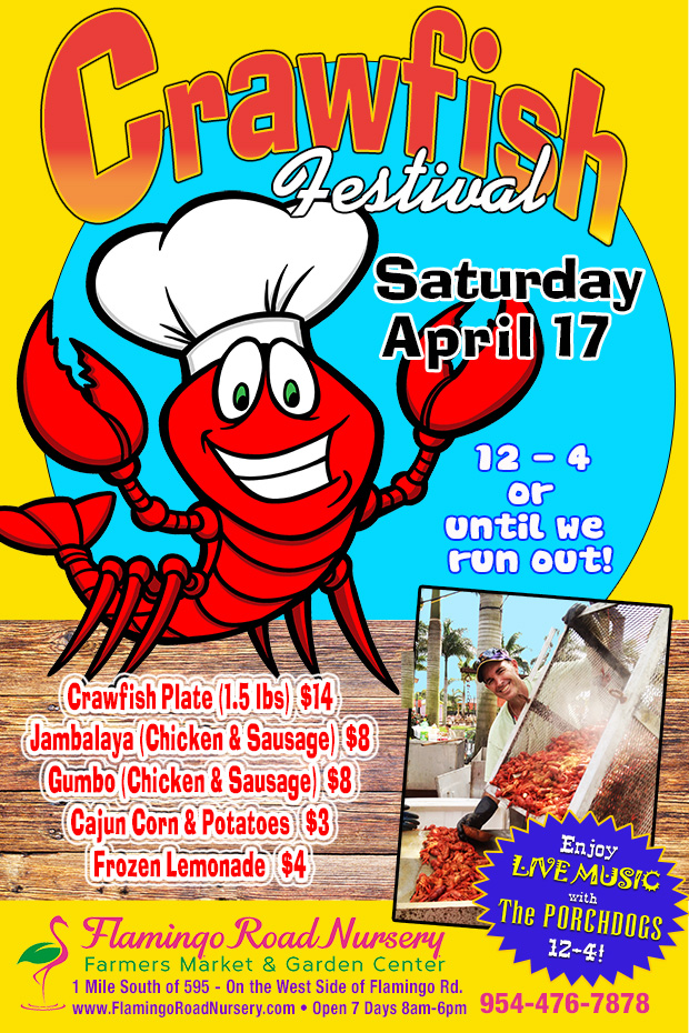 Crawfish Boil and the Porchdogs April 17th, Noon to 4pm. One day only!