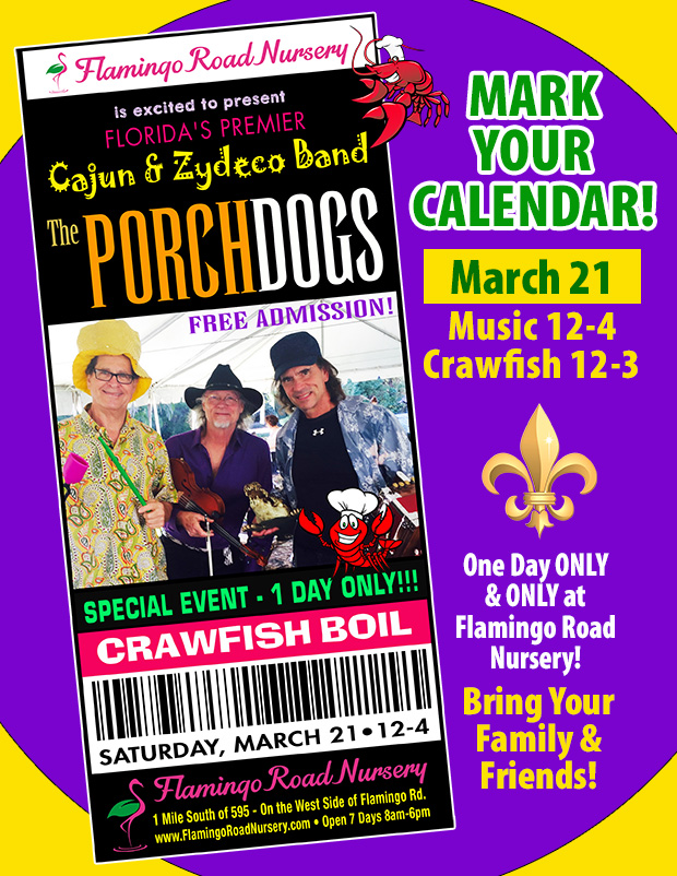 Crawfish Boil and the Porchdogs March 21, Noon to 4pm. One day only