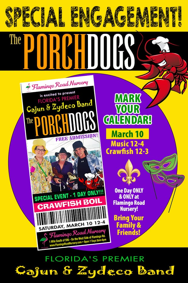 The Porch Dogs are returning for our Crawfish Festival! Mark your calendars for March 10th!!