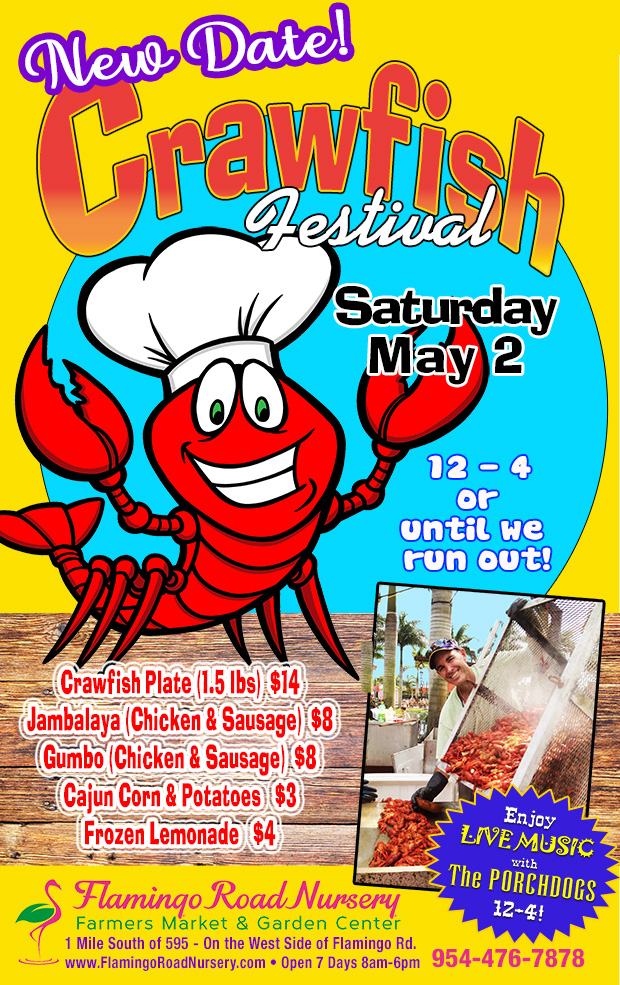 RESCHEDULED!! Crawfish Festival May 2 from 12-4!
