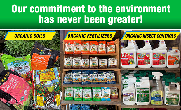 Our commitment to the environment has never been greater! Organic soils, fertilizers and insect control.