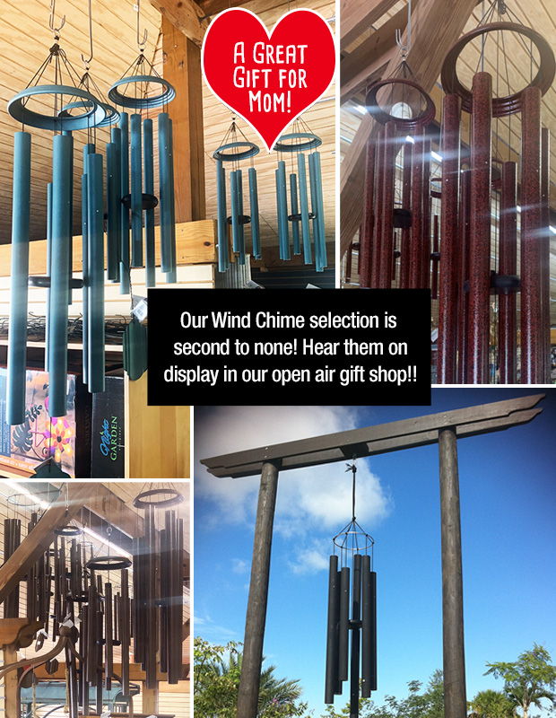 Awesome assortment of wind chimes on display - come out and hear them!