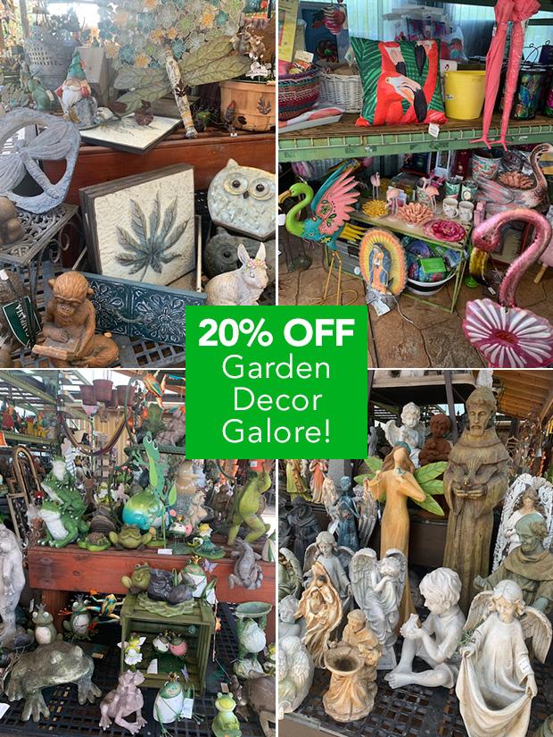 20% OFF Garden Decor Galore!