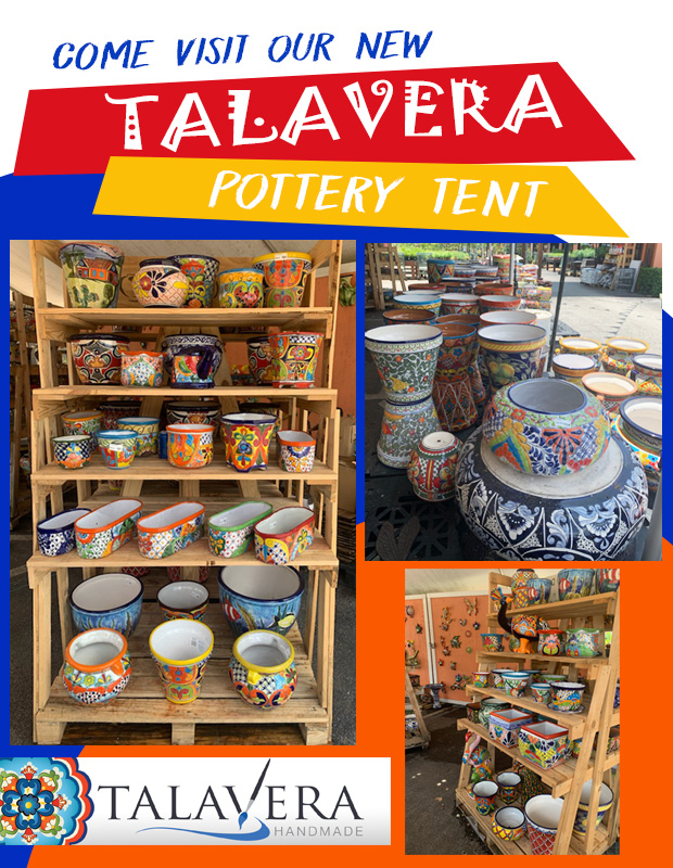 Come check out our NEW Talavera tent! Beautiful Talavera pottery in stock.