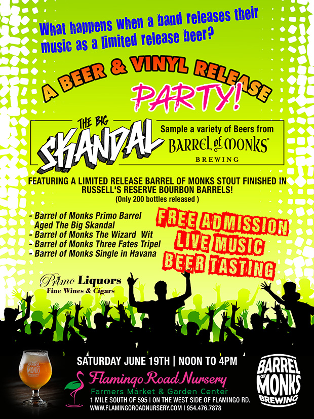 Beer and Vinyl Release Party, June 19th 12 to 4. FREE ADMISSION, FREE LIVE MUSIC, FREE BEER TASTINGS with Barrel of Monks Brewing. Music by Skandal!