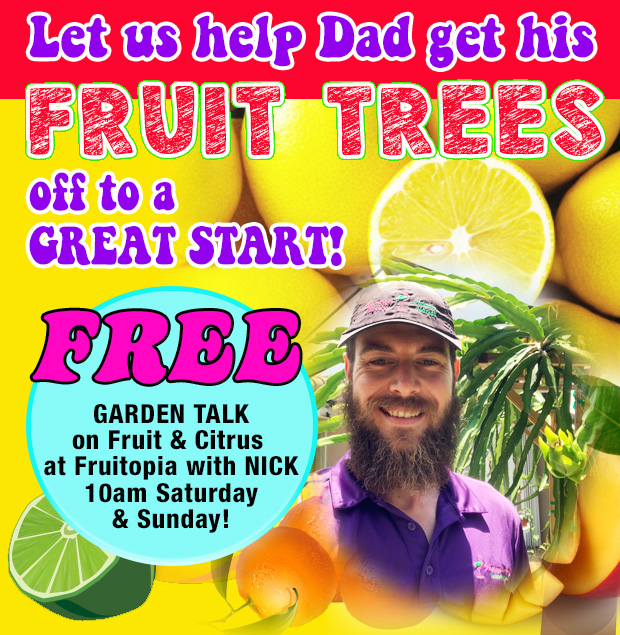 Help Dad get his fruit trees off to a great start! FREE Garden Talk with ick, Saturday and Sunday at 10am