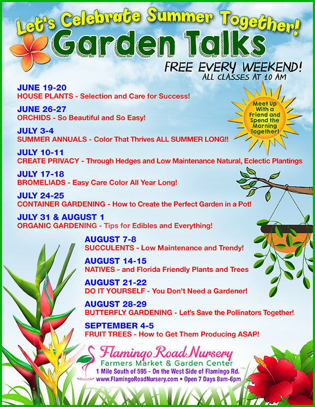 Let's celebrate summer together with talks in the garden every weekend now through Labor Day weekend! Flowers, succulents, herbs and more! Proper planning, planting and care.