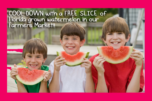 Free slice ofFlorida grown watermelon in our Farmers Market!