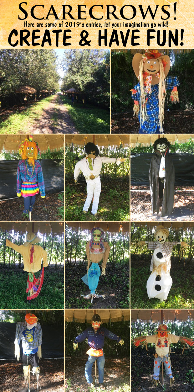 Here are some scarecrows from 2019, be sure to enter our contest this year!