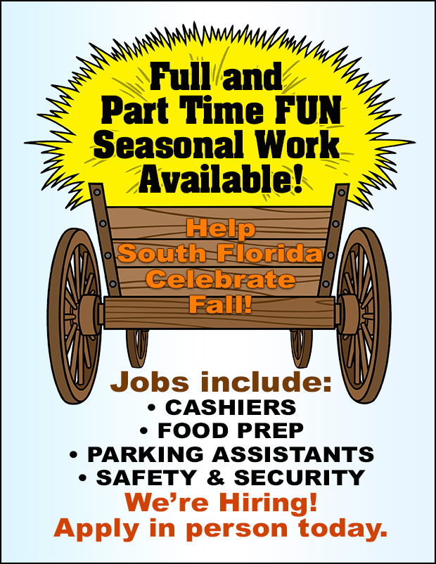 We are hiring for Fall Fest! Apply in person today!