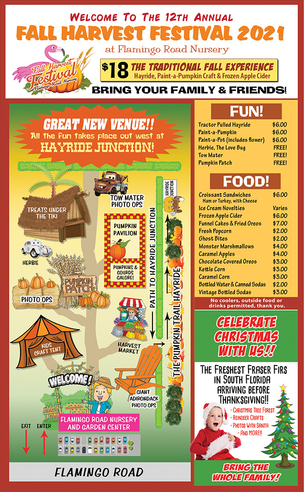 Fall Fest map, food menu.