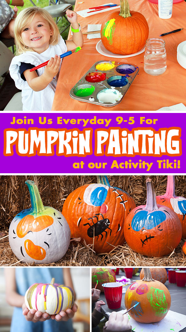 Pumpkin painting every day from 9-5 in our Activity Tiki.